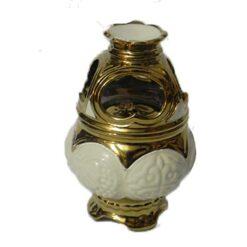 Candela cu suport pentru tamaie – alb cu auriu