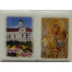 """Magnet carte cu Manastirea Lipnita si icoana """"Maica Domnului potoleste intristarile noastre"""" – 5 x 3 cm"""
