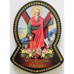 Magnet cu Sf. Apostol Andrei – 4 x 7 cm (pe lemn)