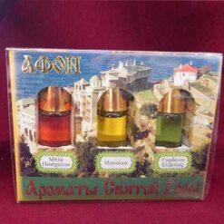 Cutie cu trei sticle de mir din Muntele Athos