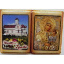 """Magnet cu Manastirea Lipnita si icoana """"Maica Domnului potoleste intristarile noastre"""" – 5 x 3 cm"""