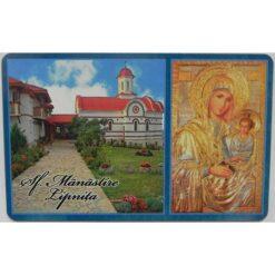 """Magnet cu Manastirea Lipnita si icoana """"Maica Domnului potoleste intristarile noastre"""" – 6 x 4 cm"""