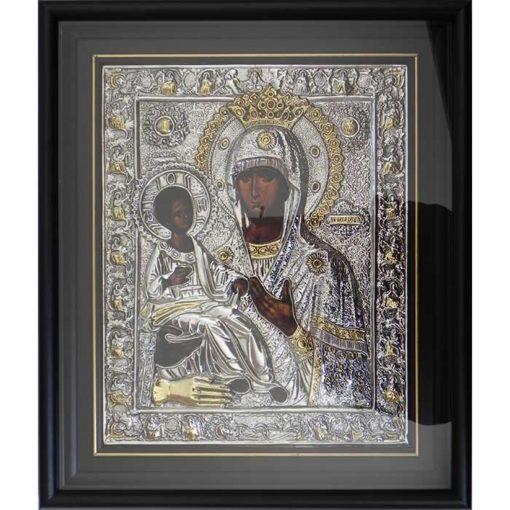 Icoana facatoare de minuni Trihirusa (Maica Domnului cu 3 maini) – placata cu argint si aur – 37 x 43 cm