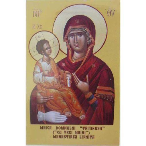 Icoana facatoare de minuni Trihirusa (Maica Domnului cu 3 maini) – cartonata – 9 x 13 cm