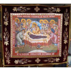 Epitaf brodat pe catifea cu struguri, spice de grau si serafimi (140 x 120 cm) – pentru Adormirea Maicii Domnului