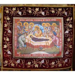 Epitaf brodat pe catifea cu vita de vie, spice de grau si serafimi (140 x 120 cm) – pentru Adormirea Maicii Domnului