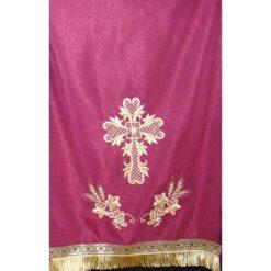 Acoperamant pentru iconostas brodat cu o cruce si doi struguri cu spice (lung)