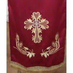 Acoperamant pentru iconostas brodat cu o cruce, struguri si spice (lung)