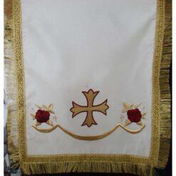 Acoperamant pentru iconostas brodat cu cruce si trandafiri (scurt)