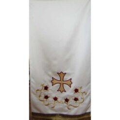 Acoperamant pentru iconostas brodat cu cruce si trandafiri (lung)
