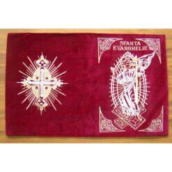 Coperti din catifea pentru Sf. Evanghelie brodate cu Invierea Domnului pe fata si cu o cruce pe spate