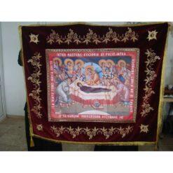 Epitaf brodat pe catifea cu serafimi, struguri si spice (140 x 120 cm) – pentru Adormirea Maicii Domnului