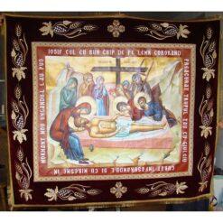 Epitaf brodat pe catifea cu struguri, spice de grau si serafimi  (140 x 120 cm) – pentru Postul Mare