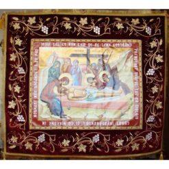 Epitaf brodat pe catifea cu vita de vie, spice de grau si serafimi  (140 x 120 cm) – pentru Postul Mare