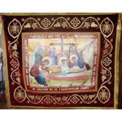 Epitaf brodat pe catifea cu vita de vie, spice de grau, serafimi si model de impletitura (145 x 125 cm) – pentru Postul Mare