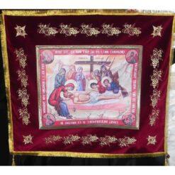 Epitaf brodat pe catifea cu struguri si serafimi (140 x 120 cm) – pentru Postul Mare