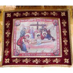 Epitaf brodat pe catifea cu struguri, spice si serafimi  (140 x 120 cm) – pentru Postul Mare