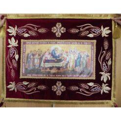 Epitaf brodat pe catifea cu struguri, spice si serafimi  (100 x 70 cm) – pentru Adormirea Maicii Domnului