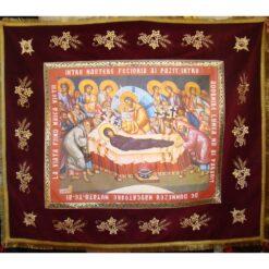 Epitaf brodat pe catifea cu struguri, spice si serafimi (140 x 120 cm) – pentru Adormirea Maicii Domnului