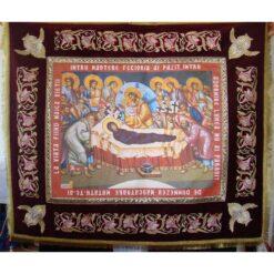 Epitaf brodat pe catifea cu serafimi si flori de crin (140 x 120 cm) – pentru Adormirea Maicii Domnului
