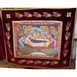 Epitaf brodat pe catifea cu struguri si serafimi (140 x 120 cm) – pentru Adormirea Maicii Domnului