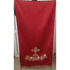 Acoperamant pentru iconostas brodat cu cruce si rugi de trandafiri (lung)
