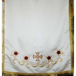 Acoperamant pentru iconostas brodat cu trandafiri si cruce (scurt)