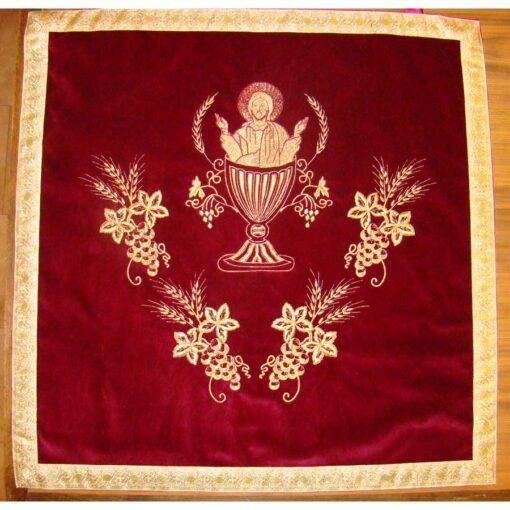Acoperaminte pentru Sfinte Vase brodate cu struguri, spice de grau si Mantuitorul in Potir – diferite culori