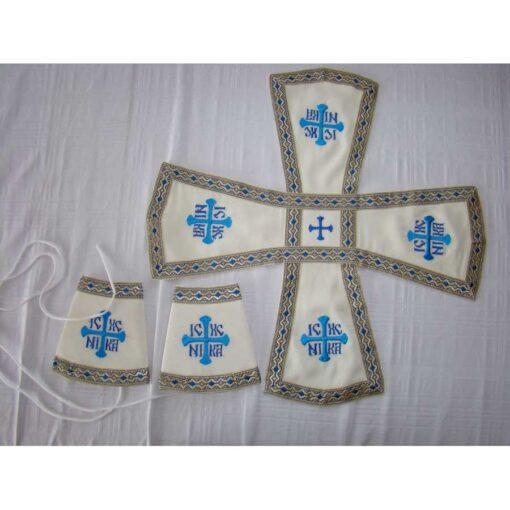 Acoperaminte pentru Sfinte Vase brodate cu doua modele de cruci bizantine – diferite culori