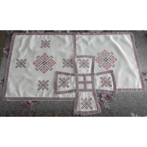Acoperaminte pentru Sfinte Vase brodate cu model traditional in punct cruciulita – Crucea Sfantului Andrei