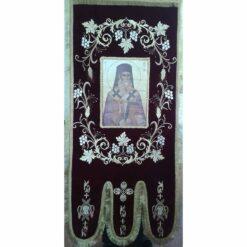 Steag bisericesc (prapur) brodat pe catifea cu doua fete cu icoane la alegere