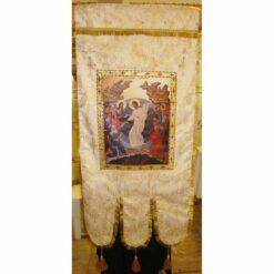 Steag bisericesc (prapur) din brocard cu o singura fata cu icoana la alegere