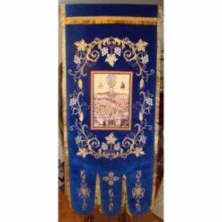 Steag bisericesc (prapur) brodat pe catifea cu o singura fata cu icoana la alegere